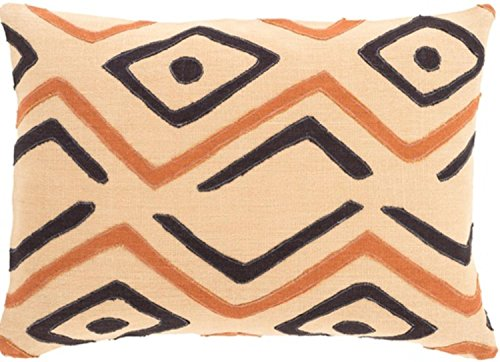 13'' x 19'' Tribal Rhythm Sandy Brown and Ink Black Decorative Throw Pillow-Down Filler by Diva At Home
