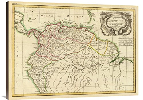 Global Gallery Budget GCS-295687-36-144 Historical Map Rigobert Bonne Terre Ferme Guyane in This case That Color is Turkish Coffee 1785
