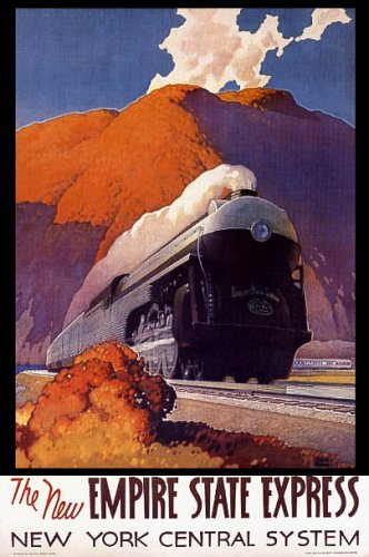 TRAIN THE NEW EMPIRE STATE EXPRESS NEW YORK CENTRAL SYSTEM AMERICAN LARGE VINTAGE POSTER REPRO - New Empire State Express