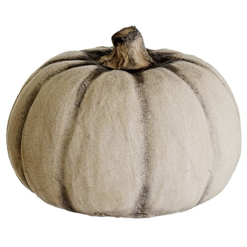 9''Hx12''W Artificial Pumpkin -Beige/Black (pack of 2) by SilksAreForever