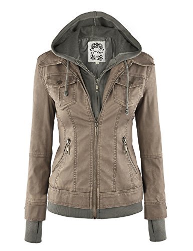 Made By Johnny WJC664 Womens Faux Leather Jacket with Hoodie L Khaki (Womens Brown Leather Bomber Jacket With Hood)