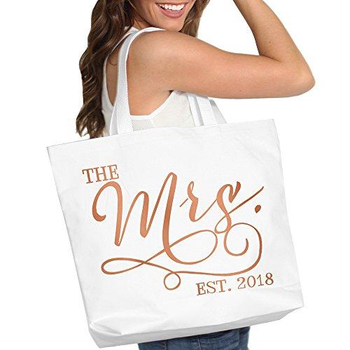 Honeymoon Wedding Gift (The Mrs. EST. 2018 Rose Gold Bride Tote Bag - Bridal Shower Bachelorette Gift - White)