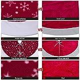 AerWo 48-Inches Velvet Snowflake Christmas Tree Skirt Christmas Party Decoration