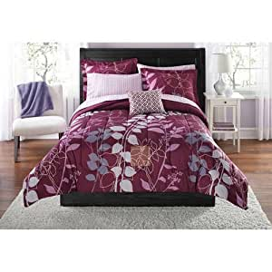 8 piece girls purple leaves floral pattern comforter queen set high end luxury. Black Bedroom Furniture Sets. Home Design Ideas