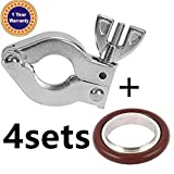 4 Sets KF-16 Aluminium Clamp Ring + KF16 Stainless Steel/Buna 304 Centering Ring FKM