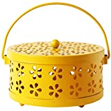 6.5X3.3 Inch Metal Hollow Floral Mosquito Coil Holder Case Garden Burner Insect Repellent Box-Black/Yellow/Bronze