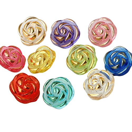 LAMEIDA 100 Pcs Acrylic Buttons Colored Rose Gold-Rimmed Buttons Assorted Colors Buttons for Sewing DIY Crafting(Random ()