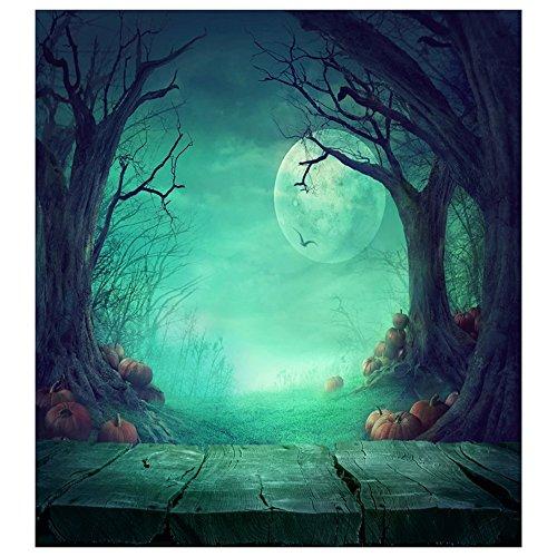TOOGOO(R) Fairy Tale Photography Backdrops Halloween Wood Floor Photo Backdrop Moon Ghost Tree Pumpkin Wood Floor Halloween Background For Baby Children (5x7ft)