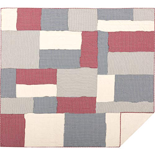 (VHC Brands Americana Bedding Hatteras Patch Cotton Linen Blend Pre-Washed Patchwork Flax King Quilt, Red)