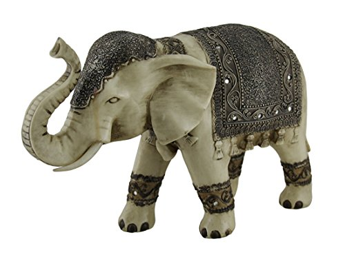 Resin Statues Antique White Faux Carved Decorated Eastern Elephant Statue 13 Inch 13 X 8.5 X 5 Inches Ivory