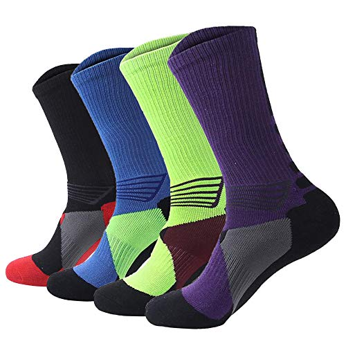 Men's Long Crew Socks Basketball Cushioned Dri-Fit Athletic Sport Compression Socks size 6.5-eleven.5(4Pack) – DiZiSports Store
