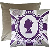 Queens 90th Purple / Mocha 43cm x43cm Cushion by Evans Lichfield