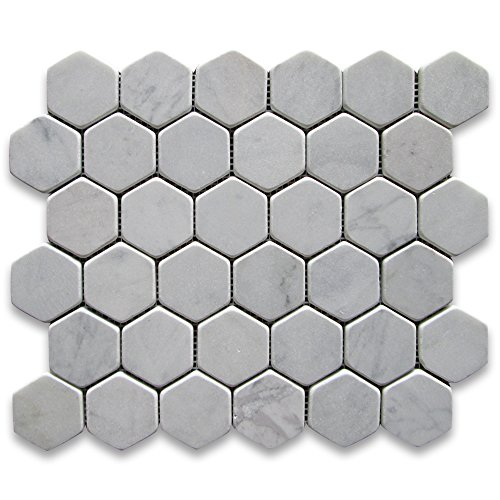Carrara White Italian Carrera Marble Hexagon Mosaic Tile ...