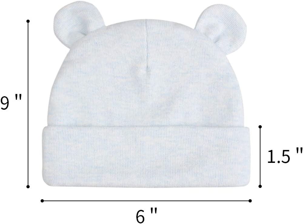 JANGANNSA Cotton Newborn Baby Boys Hat Cute Bear Ears Baby Beanie for Girls Newborn Hospital Hat Spring Autumn