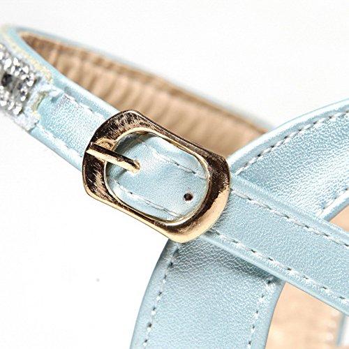 AgooLar Women's Open Toe Kitten Heels Patent Leather Solid Buckle Sandals Blue gsjjA5Wov