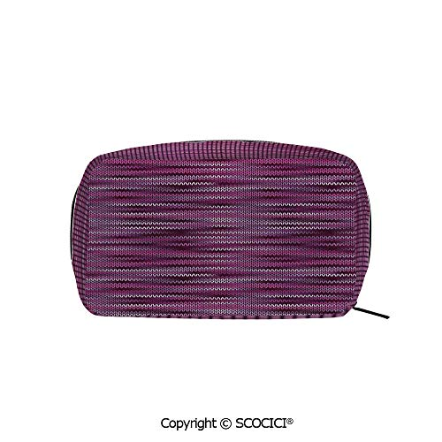 Rectangle Printed Beauty Cosmetic Bag Pouch Vintage Knit Pattern Featured Variations of Pink Tone Nostalgic Vivid Art Women fashion Toiletry Travel Bag