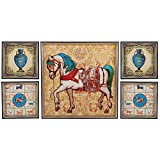 5 Panel Combination Wall Art Oil Painting On Canvas Horse Pattern Home Decor Painting Large Living Room Oil Painting