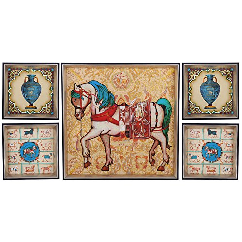 5 Panel Combination Wall Art Oil Painting On Canvas Horse Pattern Home Decor Painting Large Living Room Oil Painting by Unknown