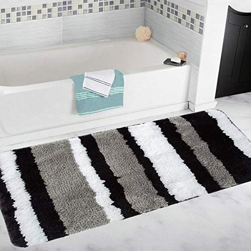 HEBE Non-Slip Bath Runner Rug for Bathroom Striped Plush Microfiber Bath Mat Long Size Bathroom...