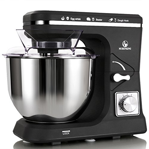 MURENKING Stand Mixer MK36 500W 6-Speed 5-Quart Stainless Steel Bowl, Tilt-Head Kitchen Electric Food Mixer with Dough Hooks, Whisk, Beater, Pouring Shield (Black)