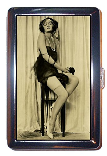 1920s Sexy Flapper Showgirl with Nice Legs! ID Wallet or Cigarette Case USA Made