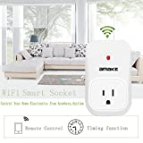 AMAKE WiFi Smart Plug Outlet Switch Wireless Timer Power Socket Remote Control Turn On/off Electronics Function for Intelligent US Household Appliances Via Smartphones Apps(White)