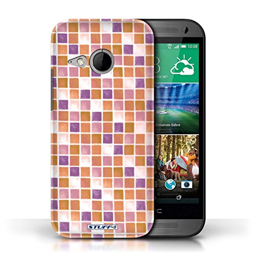 Etui / Coque pour HTC One/1 Mini 2 / Violet/Orange conception / Collection de Carreau Bain