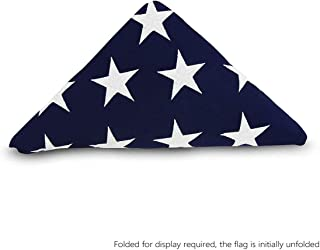 product image for Folded Memorial Flag American US Flag 5x9.5 Foot Heavy Duty Cotton for Veteran - Embroidered Stars and Sewn Stripes - 4 Rows of Lock Stitching - USA Burial Casket Flags with Brass Grommets 5 X 9.5 Ft