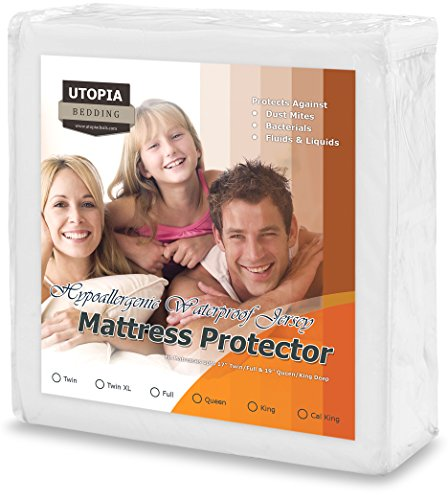 Premium Hypoallergenic Waterproof Mattress Protector - Knitted Jersey Fitted Mattress Cover - Vinyl Free - Noiseless Mattress Guard (Cal King) - by Utopia - Premium Jersey