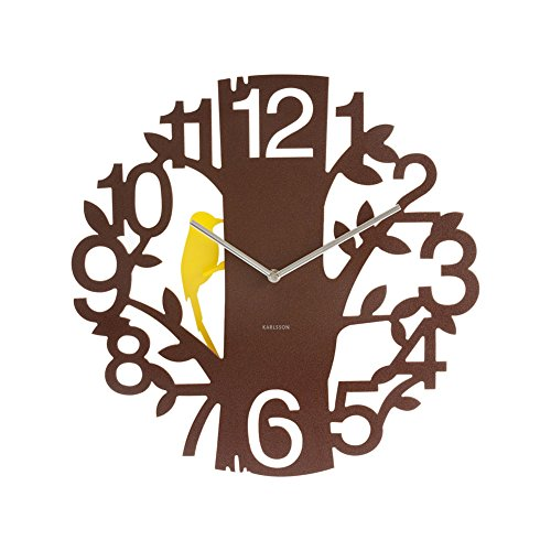 Present Time Karlsson Woodpecker Wall Clock, Brown