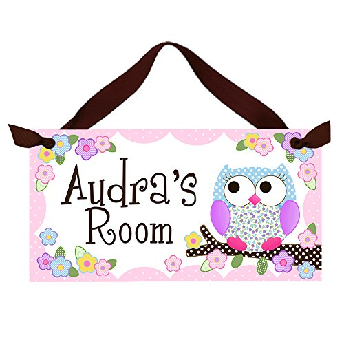 Girls Bedroom Pink and Purple Owl Personalized Name Sign Door Sign Wall Art Decor DS0110