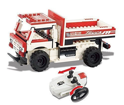 UniBlock Remote Controlled Dump Truck Building Block RC Vehicles Compatible With Lego Bricks (Dump Truck- 154 pcs.) - Used Truck Crane
