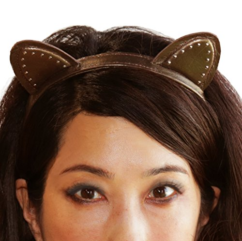 Miss Kitty Ariana Leather Stud Cat Ear Headwear Headband - Bronze