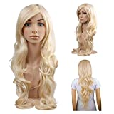 Beauty : MelodySusie Cosplay Blonde Curly Wig - Gorgeous Women Long Curly Wig with Free Wig Cap (Light Blonde)