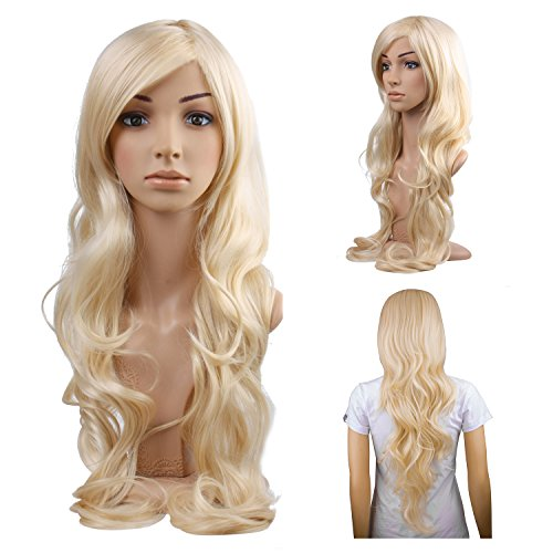 MelodySusie Blonde Long Curly Wavy Wig for Women Girl, 34 Inches Synthetic Hair Replacements Wigs with Side Part Bangs Daily Halloween Cosplay Costume Wig with Free Wig Cap,Light Blonde]()