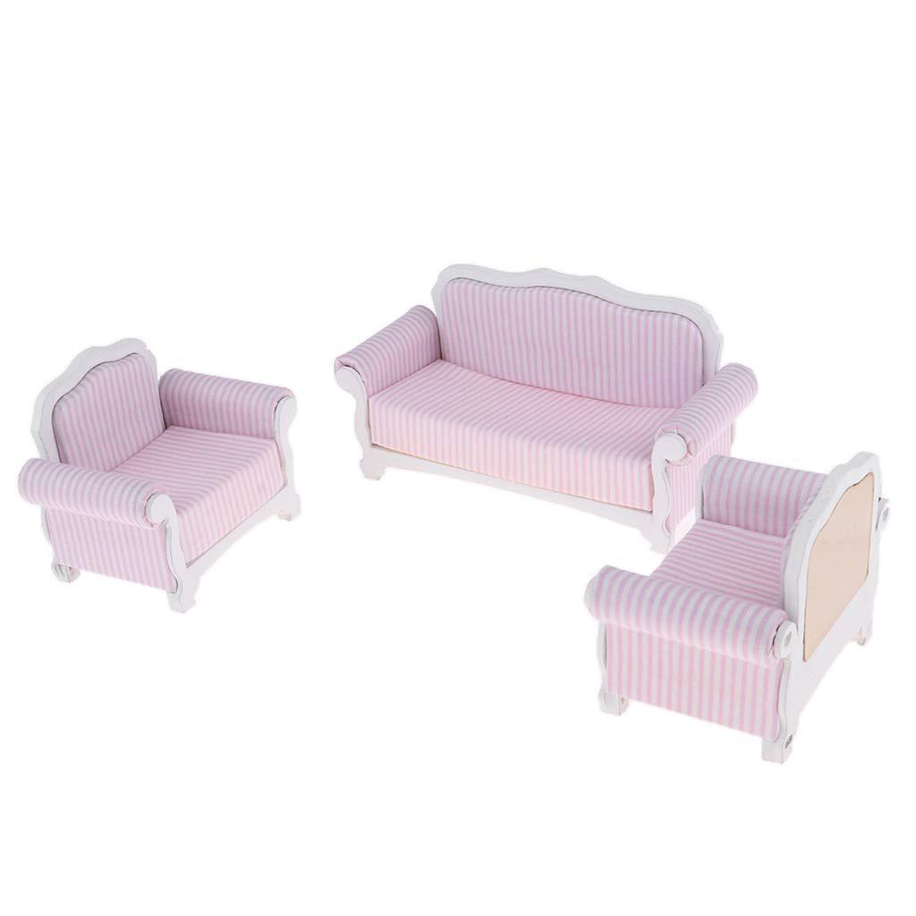 Sharplace 3 Pedazos Conjunto de Sofá Moderna Modelo de Muebles de 1/12 Dollhouse Juguete Bricolaje Miniatura - Rayas Rosa Blanca
