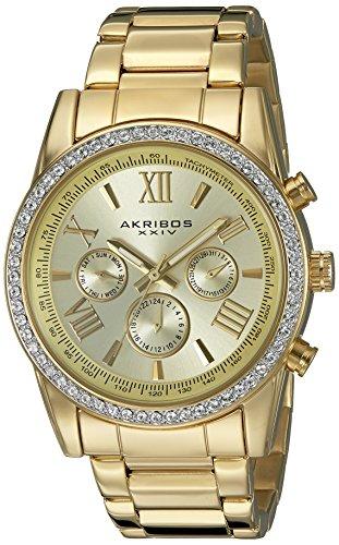 Akribos XXIV Men's AK868 Series Round Dark Gray Dial Three Hand Quartz Black Bracelet Watch (Champagne) ()