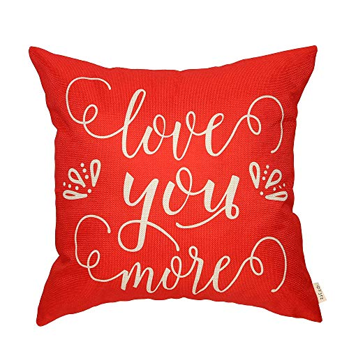 Fjfz Rustic Farmhouse Dcor Love You More Valentine's Day Sign Cotton Linen Home Decorative Throw Pillow Case Cushion Cover with Words for Lover Couple Sofa Couch, 18