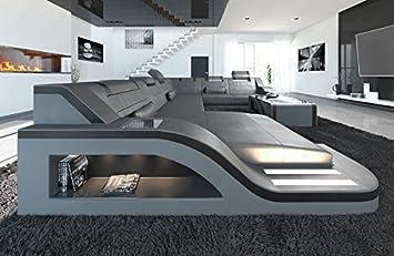 Sofa Dreams Leder Wohnlandschaft Palermo Xxl Grau Schwarz Amazon De