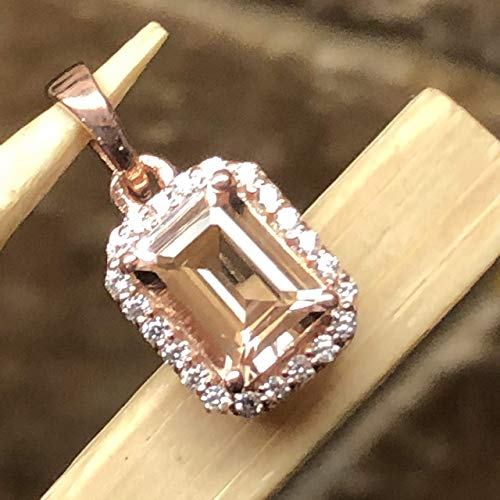 (Natural 2ct Peach Morganite 14k Rose Gold Over Sterling Silver Emerald Shape Pendant 18mm Long)