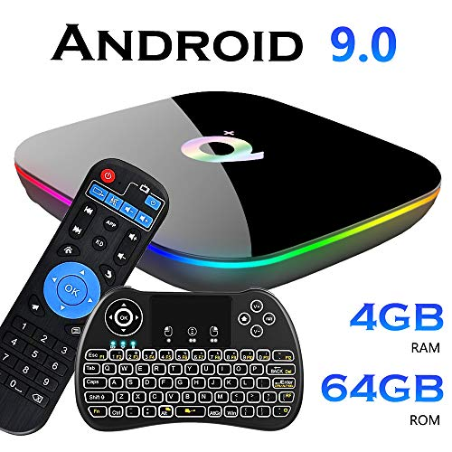 EVANPO Android 9.0 TV Box, Smart Android Boxes Media Player Quad-core Cortex A53 4GB + 64GB Support 3D/ 4K/ 6K/ H.265/2.4GHz WiFi/USB 3.0/ HDMI 2.0 with Wireless Mini Keyboard (Backlit)