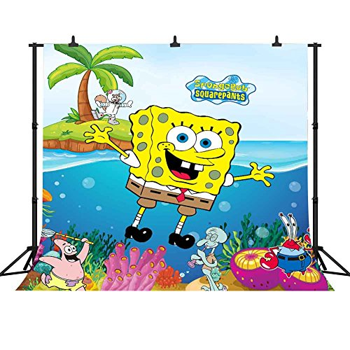 FHZON 10x10ft Anime for SpongeBob Squarepants Photography Background Seaweed Blisters Backdrop Themed Party YouTube Backdrops Photo Booth Studio Props TMFH337
