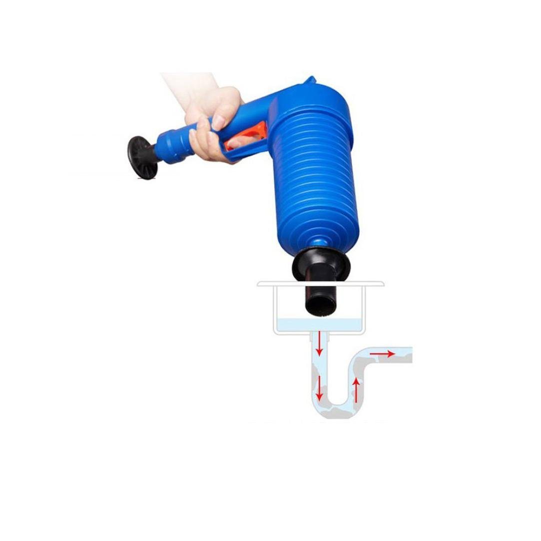 Kanzd Useful High Pressure Air Drain Blaster Pump Plunger Sink Pipe Clog Remover + 4 Suckers,Unclogs Toilets Sinks Plunger (Blue)