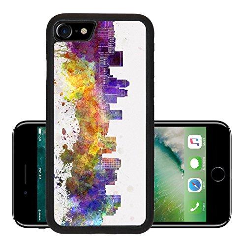 Luxlady Premium Apple iPhone 7 Aluminum Backplate Bumper Snap Case iPhone7 IMAGE ID: 40455083 Newark skyline in watercolor - Stores De Newark In