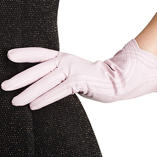 (Nappaglo Nappa Leather Gloves Warm Lining Winter Handmade Curve Imported Leather Lambskin Gloves for Women (S, Pink))