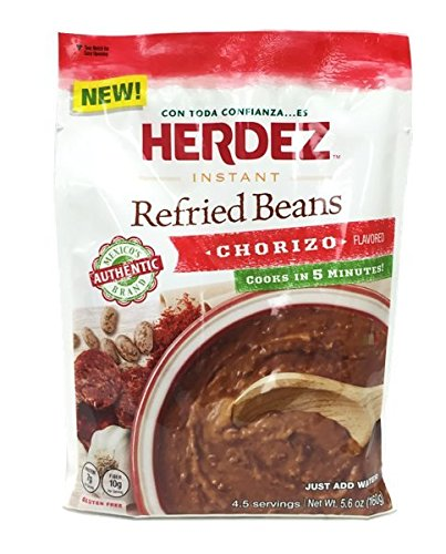Herdez Instant Refried Beans Chorizo Pouch (Pack of 3) - 5.6 oz by Herdez
