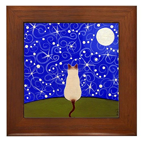 (CafePress - Siamese CAT On A Starry Night Framed ART Tile - Framed Tile, Decorative Tile Wall Hanging)
