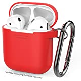 AhaStyle Premium Silicone Case Full Protective Cover Skin Compatible with Apple AirPods- Red