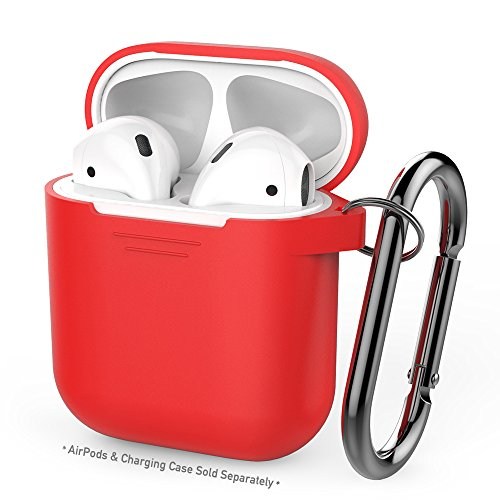 AhaStyle Full Protective AirPods Case Cover Portable Silicone Skin with Keychain for Apple AirPods (Red) (Cover Case Red Silicone)