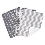 Trend Lab Ombre Gray Bouquet 4 Piece Burp Cloth Set